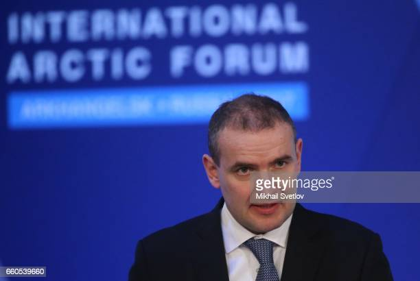 Iceland's President Guoni Th Johanesson speeches during the International Arctic Forum 'Arctic Territory of dialogue' iMarch 30 2017 in Arkhangelsk...