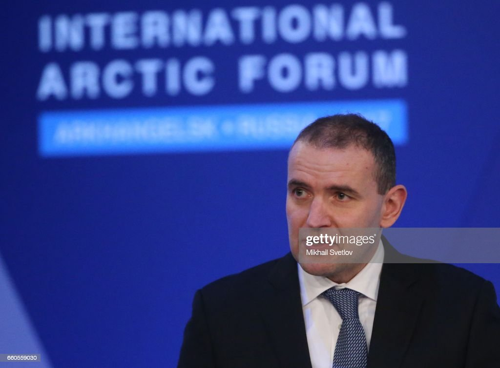 Iceland's President Guoni Th. Johanesson speeches during the International Arctic Forum 'Arctic: Territory of dialogue' iMarch 30, 2017 in Arkhangelsk, Russia.