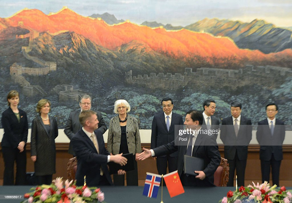 Iceland's Prime Minister Johanna Sigurdardottir (back, centre L) and Chinese Premier Li Keqiang (back, centre R) attend a signing ceremony at the Great Hall of the People on April 15, 2013 in Beijing, China. During her five day official visit to China, Prime Minister of Iceland Johanna Sigurdardottir is holding talks with China's Premier Li Keqiang concerning bilateral trade relations and a free trade agreement.