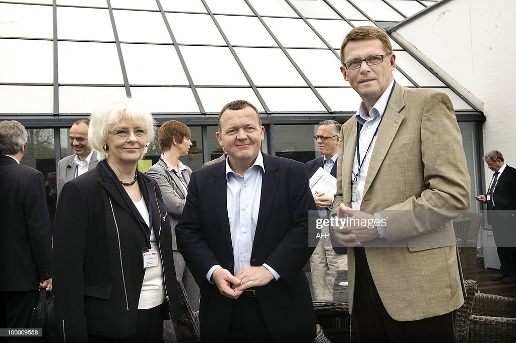 Iceland's Prime Minister Johanna Sigurdardottir, Danish Prime Minister Lars Lokke Rasmussen and Finnish Prime Minister Matti Vanhanen are seen on their arrival on May 20, 2010 for the Nordic Globalization Meeting in Snekkersten, north of Copenhagen. AFP PHOTO/SCANPIX/Jens Nørgaard Larsen