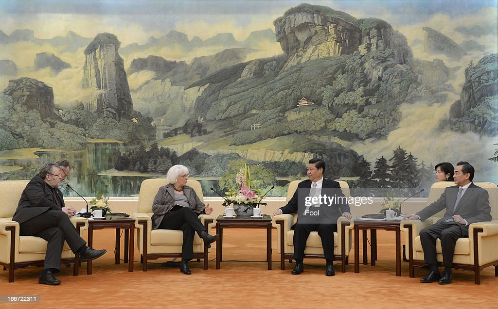 Iceland's Prime Minister Johanna Sigurdardottir (2nd L) talks with Chinese President Xi Jinping (2nd R) during a meeting at the Great Hall of the People on April 16, 2013 in Beijing, China. Sigurdardottir is on a five day official visit to China and will hold talk concerning bilateral trade relations and a free trade agreement.
