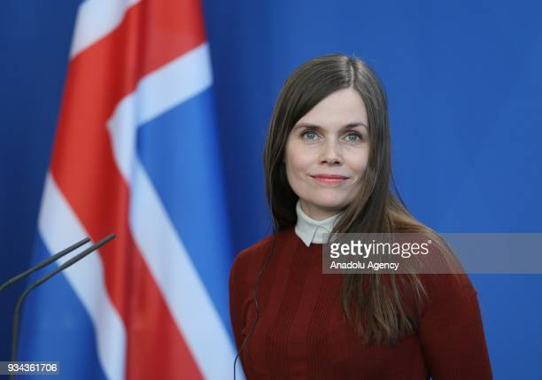 Iceland's Prime Minister Katrin Jakobsdottir and German Chancellor Angela Merkel hold a joint press conference after their meeting in Berlin, Germany...