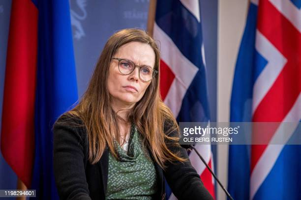 Iceland's Prime Minister Katrin Jakobsdottir listens during a joint press conference with her counterparts from Lichtenstein and Norway on February...