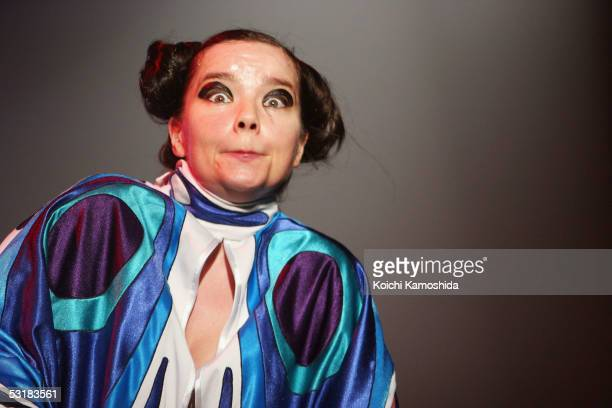 Iceland's rock singer Bjork performs on stage at 'Live 8 Japan' at Makuhari Messe on July 2 2005 in Chiba east of Tokyo Japan The free concert is one...