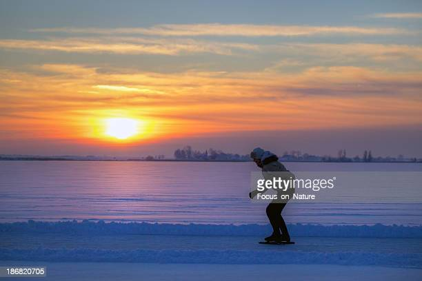 ice-skating during sunset
