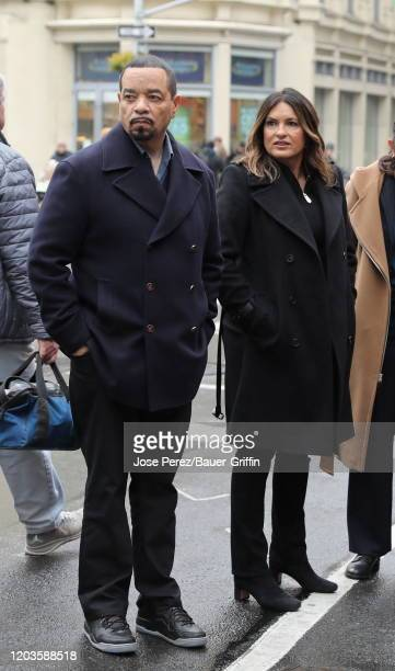 IceT and Mariska Hargitay are seen on the set of Law and Order Special Victims Unit on February 26 2020 in New York City