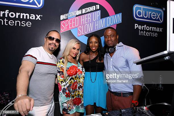 IceT Coco DJ Kiss and DJ MOS pose at Durex Get InSync Party on June 21 2012 at Chrystie 141 in New York City