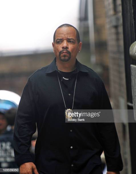 """Ice-T filming on location for """"Law & Order: SVU"""" on the streets of Manhattan on August 10, 2010 in New York City."""