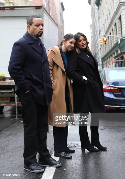 IceT Mariska Hargitay and Jamie Gray Hyder are seen on the set of Law and Order Special Victims Unit on February 26 2020 in New York City
