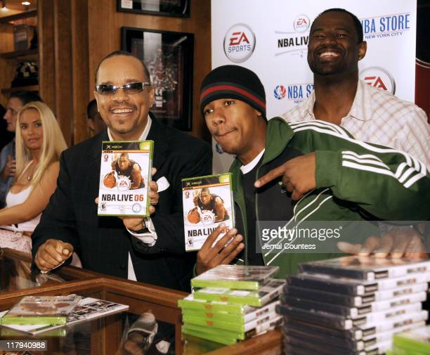 IceT Nick Cannon and Brian McKnight at the exclusive premiere of EA Sports NBA Live 06 at the NBA Store in New York City on September 27 2005