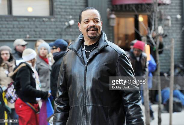 """Ice-T on location for """"Law & Order: SVU"""" on the streets of Manhattan on January 6, 2010 in New York City."""