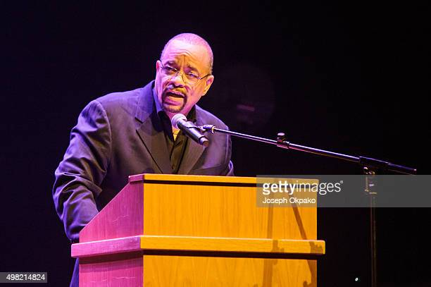 Ice-T reads a spoken word poem as part of the Langston Hughes Project for London Jazz festival at Barbican Centre on November 21, 2015 in London,...