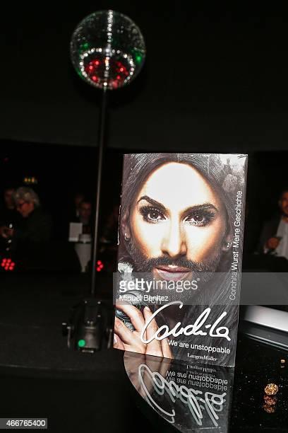 'Ich Conchita Conchita Wurst Maine Geschichte' 'I Conchita Conchita Wurst My History' book at the ViennaSphere at the Moll de la Fusta on March 18...