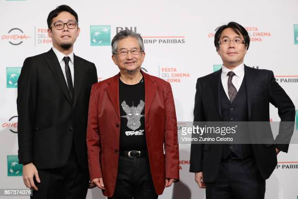 Ichinao Nagai Go Nagai and Yu Kanemaru attend 'Mazinger Z Infinity' photocall during the 12th Rome Film Fest at Auditorium Parco Della Musica on...