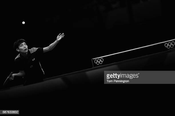 IChing Cheng of Chinese Taipei competes against Xiaoxia Li of China during the Women's Singles Quarterfinal 3 Table Tennis on Day 4 of the Rio 2016...