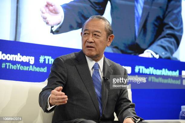 Ichiro Fujisaki president and chief executive officer of the Nakasone Peace Institute and former Japanese ambassador to the US speaks during the...