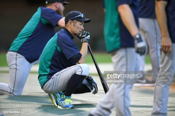 Ichiro Suzuki during batting practice before the game against the Los Angeles Angels of Anaheim at Angel Stadium on September 14 2018 in Anaheim...