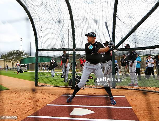 Ichiro Suzuki in the batting cage during a Miami Marlins workout on February 23 2016 in Jupiter Florida