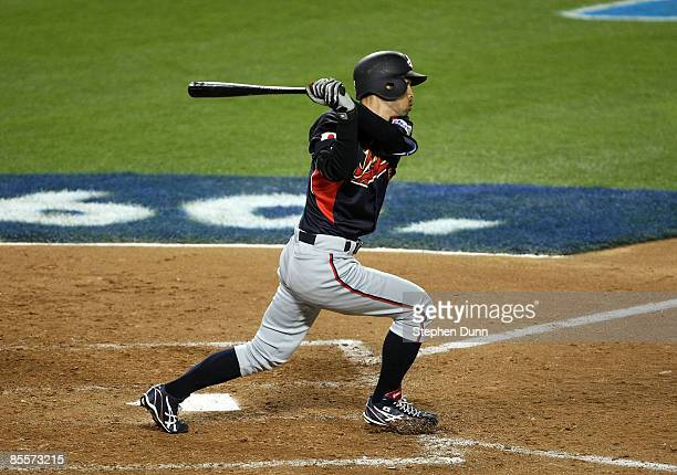 Ichiro Suzuki of Japan hits a leadoff double in the ninth inning against Korea during the finals of the 2009 World Baseball Classic on March 23 2009...