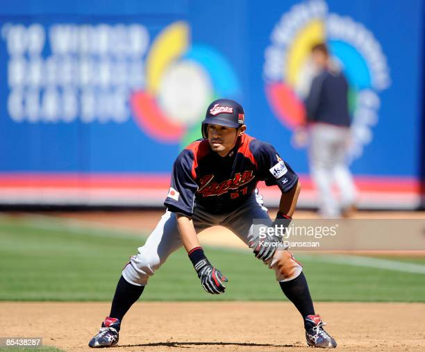 Ichiro Suzuki of Japan looks to steal second base against Cuba during the 2009 World Baseball Classic Round 2 Pool 1 match on March 15 2009 at Petco...