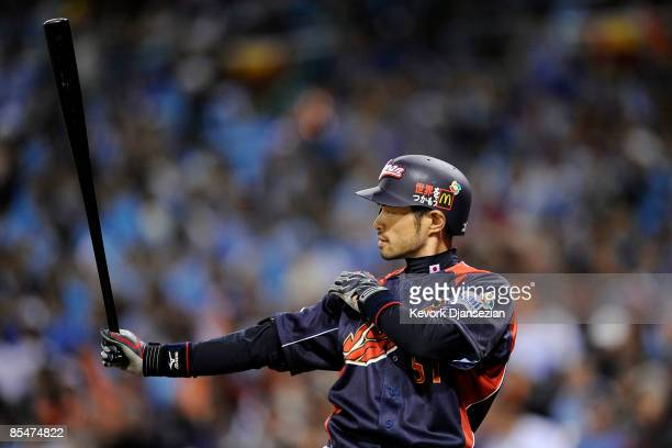 Ichiro Suzuki of Japan waits for a pitch from Korea during the 2009 World Baseball Classic Round 2 Pool 1 Game 4 on March 17, 2009 at Petco Park in...