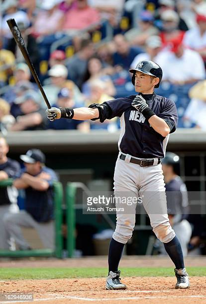 Ichiro Suzuki of New York Yankees at bat during the spring training game against Philadelphia Phillies at Bright House Networks Field on February 26,...