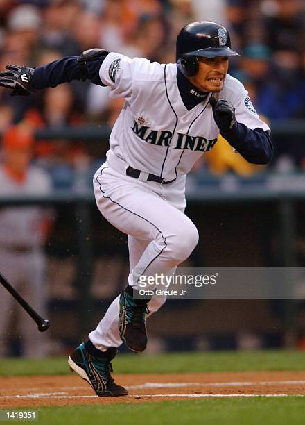 Ichiro Suzuki of Seattle Mariners runs up the first base line in his first at bat against the Anaheim Angels at Safeco Field in Seattle Washington He...