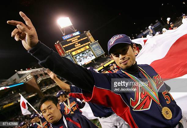 Ichiro Suzuki of Team Japan celebrates after defeating Team Cuba in the Final game of the World Baseball Classic at Petco Park on March 20, 2006 in...