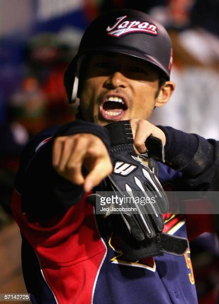 Ichiro Suzuki of Team Japan celebrates during the Final game of the World Baseball Classic against Team Cuba at Petco Park on March 20, 2006 in San...