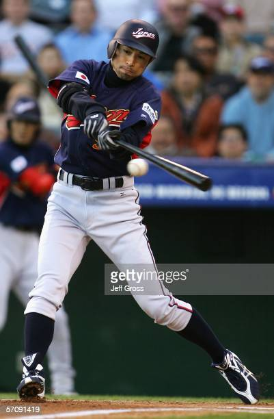 Ichiro Suzuki of Team Japan hits a ground ball out against Team Mexico during the Round 2 Pool 2 Game of the World Baseball Classic at Angel Stadium...