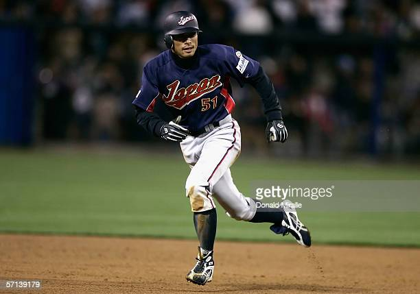 Ichiro Suzuki of Team Japan runs the bases against Team Korea in the Semi Final game of the World Baseball Classic at Petco Park on March 18 2006 in...