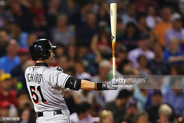 Ichiro Suzuki of the Miami Marlins at bat against the Boston Red Sox during the seventh inning at Fenway Park on July 8 2015 in Boston Massachusetts