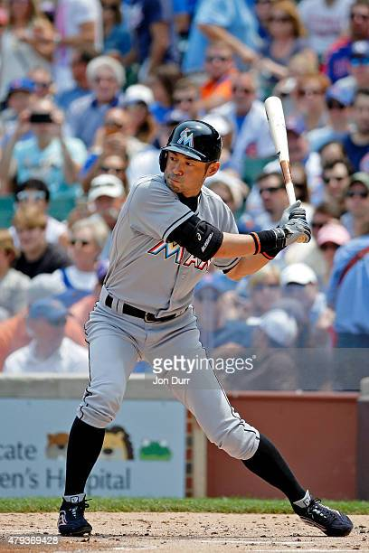 Ichiro Suzuki of the Miami Marlins at bat against the Chicago Cubs during the second inning at Wrigley Field on July 3, 2015 in Chicago, Illinois.