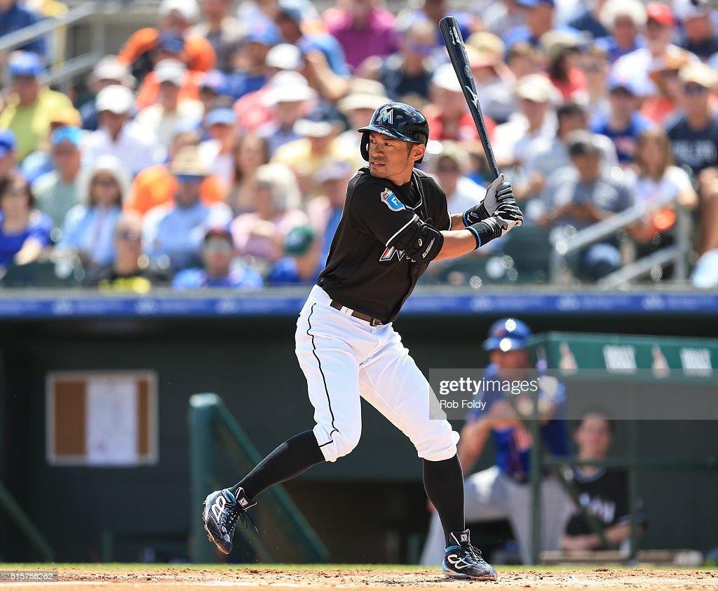 Ichiro Suzuki #51 of the Miami Marlins at bat during the second inning the spring training game against the New York Mets on March 15, 2016 in Jupiter, Florida.