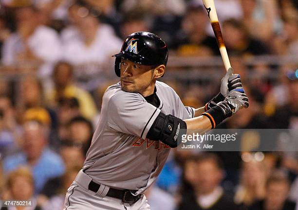 Ichiro Suzuki of the Miami Marlins at bat in the seventh inning during the game against the Pittsburgh Pirates at PNC Park on May 25 2015 in...