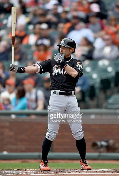 Ichiro Suzuki of the Miami Marlins bats against the San Francisco Giants in the top of the first inning at ATT Park on May 10 2015 in San Francisco...