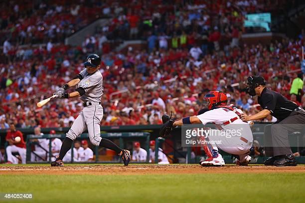 Ichiro Suzuki of the Miami Marlins bats against the St Louis Cardinals in the third inning at Busch Stadium on August 14 2015 in St Louis Missouri