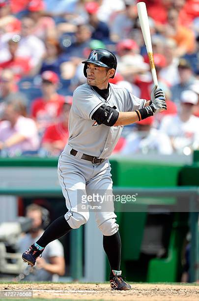 Ichiro Suzuki of the Miami Marlins bats against the Washington Nationals at Nationals Park on May 6 2015 in Washington DC