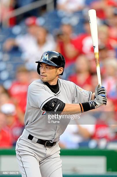 Ichiro Suzuki of the Miami Marlins bats against the Washington Nationals at Nationals Park on August 28 2015 in Washington DC