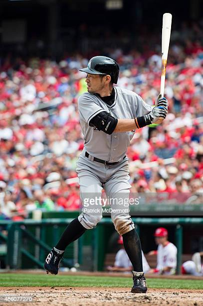 Ichiro Suzuki of the Miami Marlins bats against the Washington Nationals in the third inning of a baseball game at Nationals Park on August 30 2015...