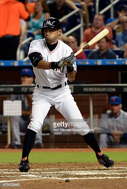 Ichiro Suzuki of the Miami Marlins bats during a MLB game against the New York Mets at Marlins Park on April 27 2015 in Miami Florida
