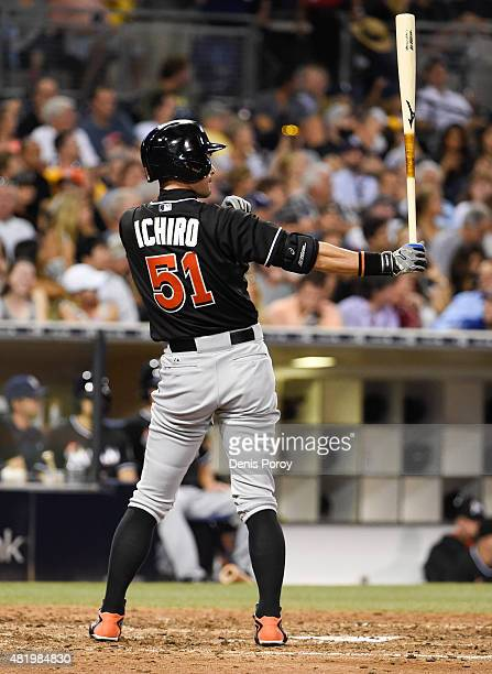 Ichiro Suzuki of the Miami Marlins bats during the eighth inning of a baseball game against the San Diego Padres at Petco Park July 25 2015 in San...