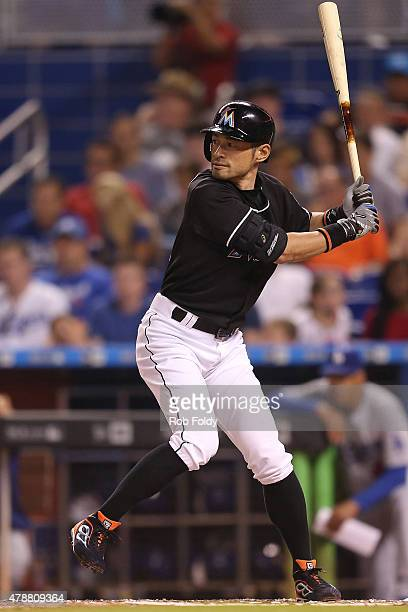Ichiro Suzuki of the Miami Marlins bats during the fifth inning of the game against the Los Angeles Dodgers at Marlins Park on June 27 2015 in Miami...