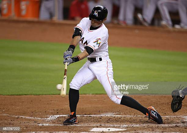 Ichiro Suzuki of the Miami Marlins bats during the fourth inning of the game against the Washington Nationals at Marlins Park on July 29 2015 in...