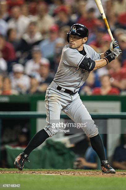 Ichiro Suzuki of the Miami Marlins bats during the game against the Washington Nationals at Nationals Park on May 5 2015 in Washington DC