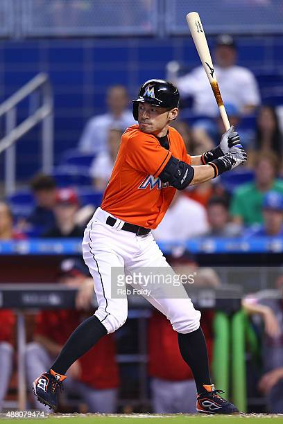 Ichiro Suzuki of the Miami Marlins bats during the game against the Washington Nationals at Marlins Park on September 13 2015 in Miami Florida