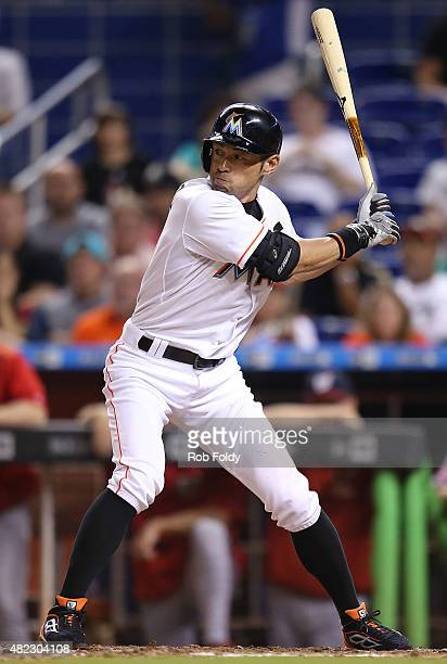Ichiro Suzuki of the Miami Marlins bats during the ninth inning of the game against the Washington Nationals at Marlins Park on July 29 2015 in Miami...
