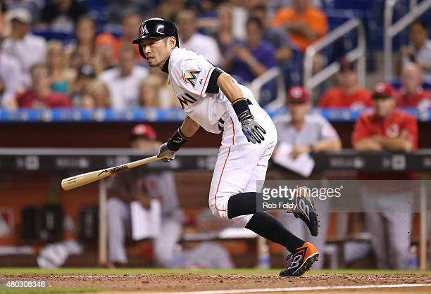 Ichiro Suzuki of the Miami Marlins bats during the sixth inning of the game against the Cincinnati Reds at Marlins Park on July 10 2015 in Miami...