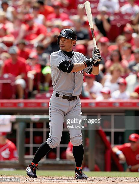 Ichiro Suzuki of the Miami Marlins bats in the 7th inning during the game against the Cincinnati Reds at Great American Ball Park on June 21 2015 in...