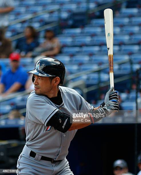 Ichiro Suzuki of the Miami Marlins bats in the second inning against the Atlanta Braves at Turner Field on September 2 2015 in Atlanta Georgia